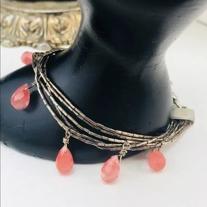 Jewelry - Vintage sterling Silver Heavy coral bracelet